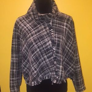 Zara Tweed Cropped Poncho